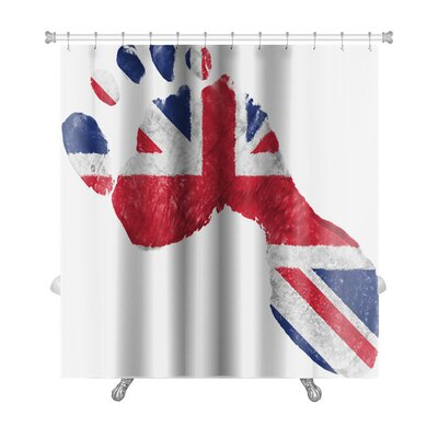 Human Touch Britain British Flag Painted in a Shape of Footprint Premium Shower Curtain