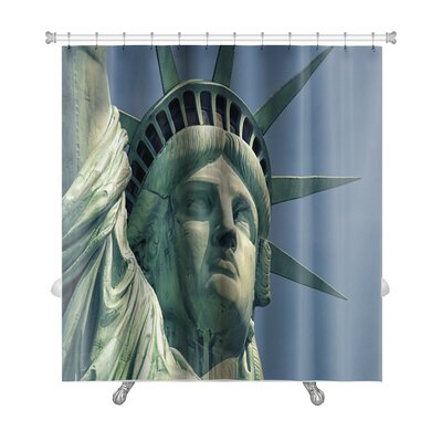 Patriotic Monument in Manhattan and Statue of Liberty Premium Shower Curtain