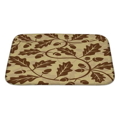 Leaves Leaf Acorn Pattern Bath Rug Size: Large
