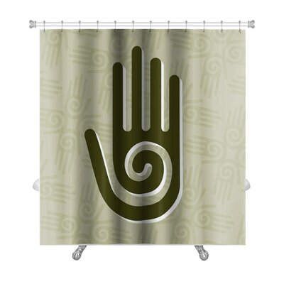 Human Touch Hand with a Spiral Symbol on the Palm Premium Shower Curtain