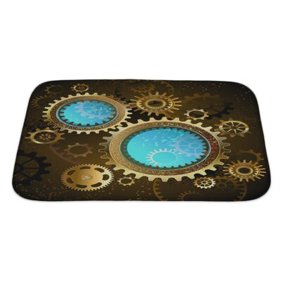 Vintage Mechanical Glass Gears Bath Rug Size: Large