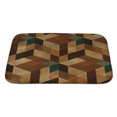 Delta Vintage Geometric Bath Rug Size: Large, Color: Brown