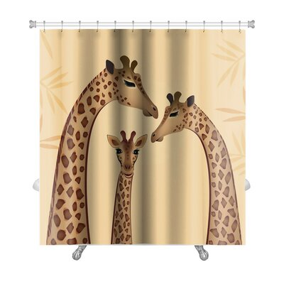 Animals Giraffes Family Premium Shower Curtain