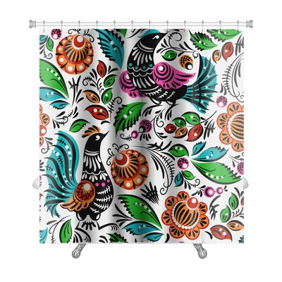Birds Folk Traditional Painting with Flowers and Birds Premium Shower Curtain