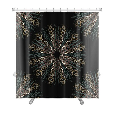 Slide Abstract Flower Pattern Premium Shower Curtain