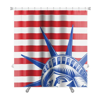 Patriotic Stripes and Statue of Liberty Closeup Premium Shower Curtain