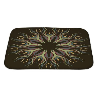 Slide Abstract Dark Pattern with Abstract Flowers Bath Rug Size: Large