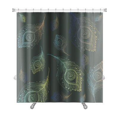 Leaves Peacock Feather Premium Shower Curtain
