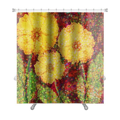 Flowers Acrylic Hand Drawn with 3 Big Flowers Premium Shower Curtain