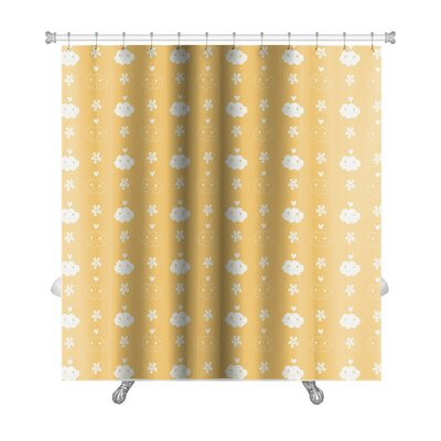 Alpha Beautiful Flowerand Cloud Shower Curtain
