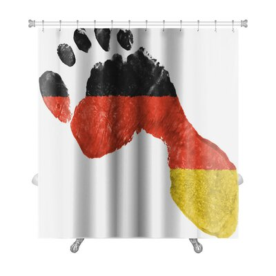 Human Touch German Flag Painted in a Shape of Footprint Premium Shower Curtain