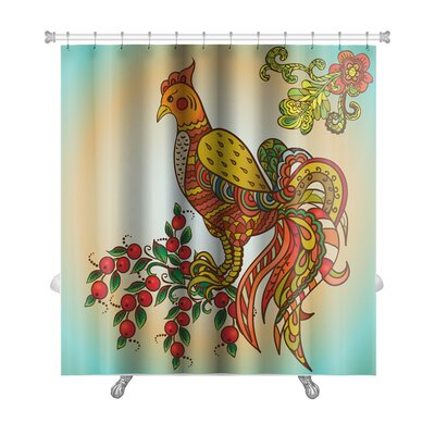 Birds Khohloma Ornament Premium Shower Curtain