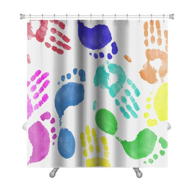Human Touch Finger Painted Hand and Footprint Pattern Premium Shower Curtain