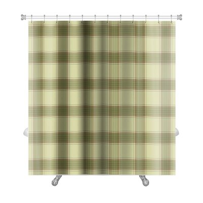 Picnic Plaid in Soft Tones of with Terracotta Accents Premium Shower Curtain