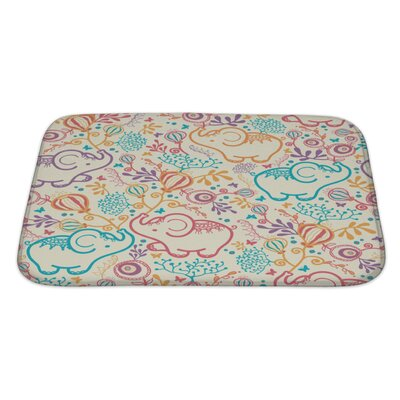 Animals Elephants with Flowers Bath Rug Size: Large