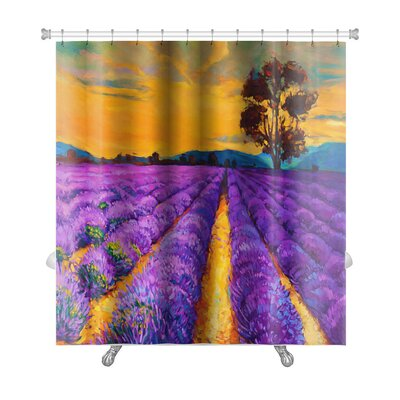 Landscapes Lavender Fields at Sunset, Modern Impressionism Premium Shower Curtain