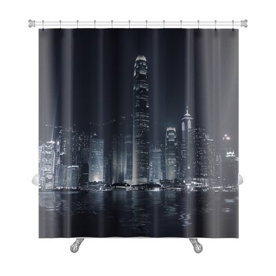 Skyline Landmark of Hong Kong with Famous Skyscraper and Modern Building in the Evening Premium Shower Curtain