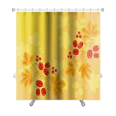 Simple Berries and Leaves in the Khokhloma Style Premium Shower Curtain