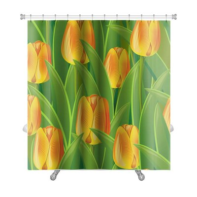 Flowers From Tulips and Leaves Premium Shower Curtain