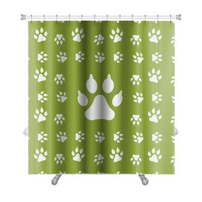 Animals With Dog Paw Print Premium Shower Curtain