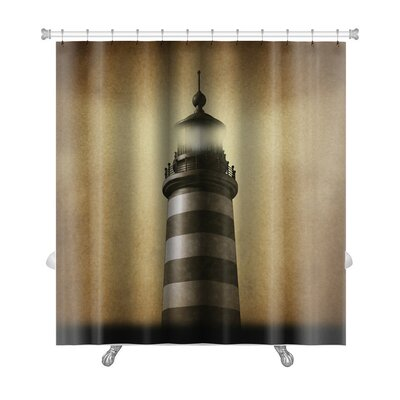 Marine Lighthouse on Old Grunge Vintage Premium Shower Curtain
