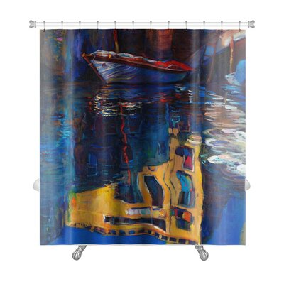Art Beta Venice Boat and Building Reflection Premium Shower Curtain