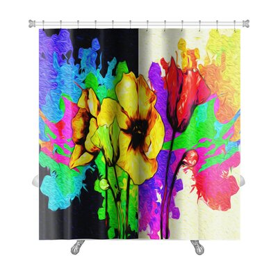 Flowers Digital Painting of Flowers Premium Shower Curtain