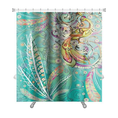 Art Alpha Firebird with Crown and Abstract Branches on Emerald with Stylized Feathers Premium Shower Curtain