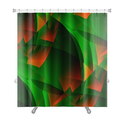 Beta Green-Fiery Transcendental Expressionistic Art Premium Shower Curtain