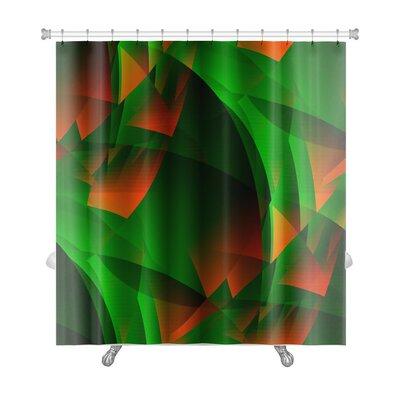 Beta Green-Fiery Transcendental Expressionistic Art Premium Shower Curtain