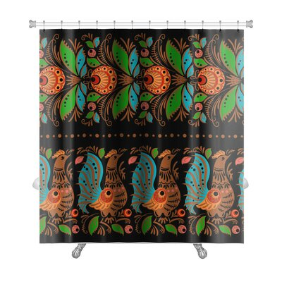 Simple Folk Gorodets Traditional Painting with Flowers and Birds Premium Shower Curtain
