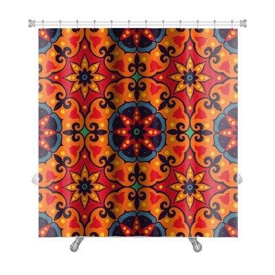 Delta Oriental Traditional Floral Ornament, Moroccan Pattern Premium Shower Curtain