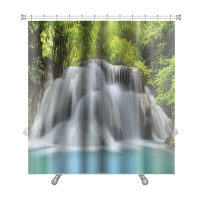 Landscapes Level 3 of Huai Mae Kamin Waterfall in Kanchanaburi Province, Thailand Premium Shower Curtain
