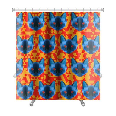 Animals Bright Colored Polygonal Siamese Cat Premium Shower Curtain