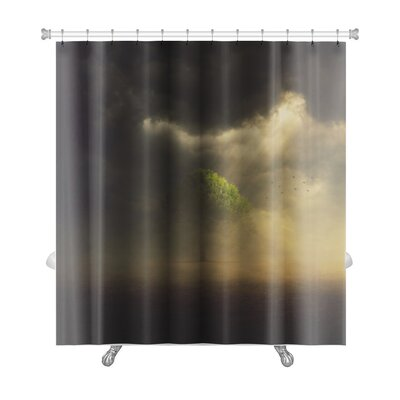 Nature the Sun is Shining Through the Clouds on a Single Tree in the Field Premium Shower Curtain