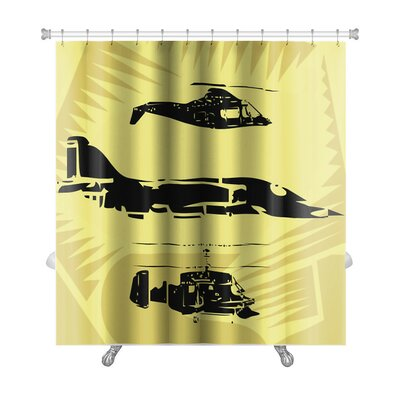 Aircraft Aeroplane Fighter Plane and Helicopter Flying in the Sky Premium Shower Curtain