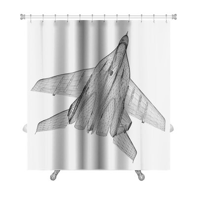 Aircraft Fighter Plane Model, Body Structure, Wire Model Premium Shower Curtain