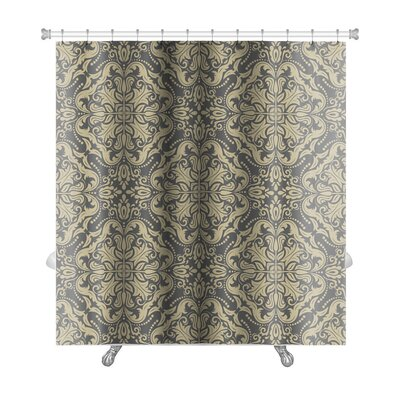 Primo Damask Fine Traditional Ornament with Oriental Elements Premium Shower Curtain