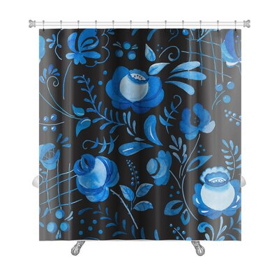 Delta Beautiful Pattern with Traditional Russian Gzhel Ornament Premium Shower Curtain