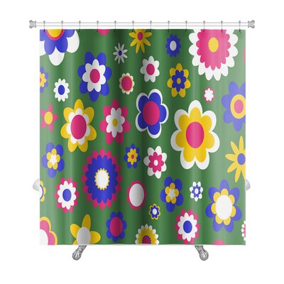 Beta Multicolored Funky Flowers Abstract Pattern Premium Shower Curtain Color: Green