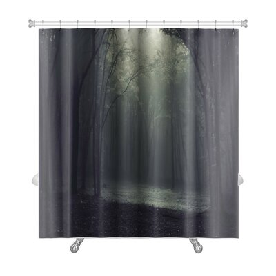 Landscapes Light in a Dark Mysterious Forest Creating a Frame Premium Shower Curtain