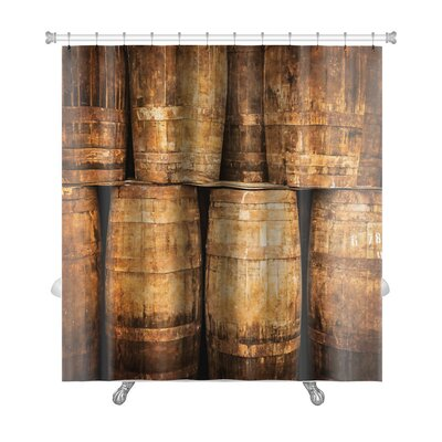Vintage Stacked Whisky Barrels in Monochrome Vintage Style Premium Shower Curtain