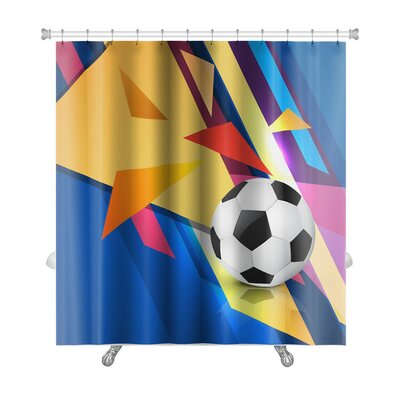 Soccer Colorful Abstract Football Premium Shower Curtain