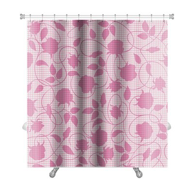 Slide Silhouette of Flowers and Leaves Premium Shower Curtain