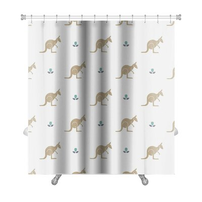 Animals with Flower and Kangaroos Australia Premium Shower Curtain