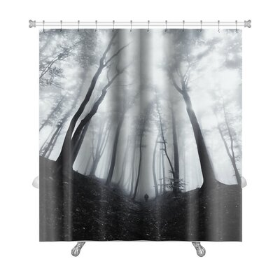 Nature Man Silhouette in Dark Spooky Misty Forest Premium Shower Curtain