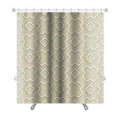 Creek Abstract Geometric Islamic Wallpaper Arabic Monochrome Pattern Lace Premium Shower Curtain