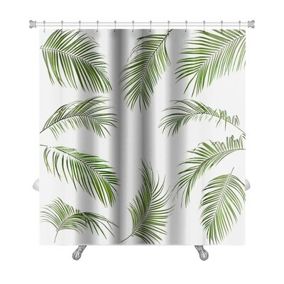 Nature Palm Leaves Isolated Premium Shower Curtain