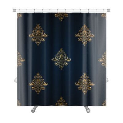 Alpha Classic Pattern with Floral Ornaments Premium Shower Curtain