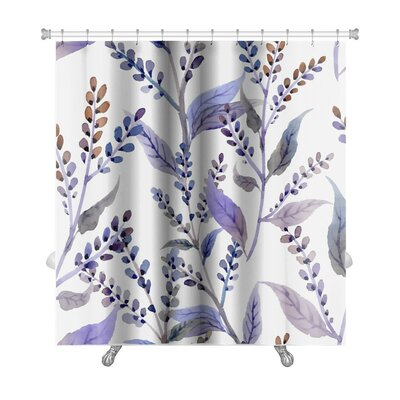 Delta Watercolor Pattern with Floral Elements Premium Shower Curtain